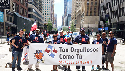 Syracuse University students, faculty, and staff, gathered in New York City to attend the Dominican Day Parade.