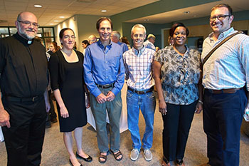2015 Faculty Sustainability Fellows, from left: Adelmo Dunghe, Gwendolyn Morgan, Doug Frank, Jim Hannan, Kishi Ducre, and Evan Weissman. Not pictured: Ronald Wright.