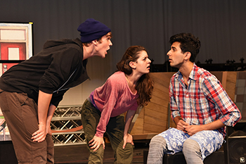 "Mitchell Harrison, Melissa Lawson and Cheech Manohar, from left, star in ""New Kid."" (Photo by Brenna Merritt)"