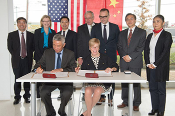 Representatives from Nanjing and Syracuse University signed the agreement during ceremonies held at the Center of Excellence.