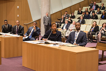 John F. Boyd II, Steven M. Nelson, Khadijah N. Peek and Ibrahim K. Lawton, from left, participate in the Grossman Competition.