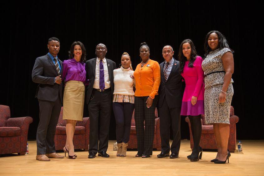 (from left to right)Travis Davis '16,  Fredricka Whitfield,  Benjamin Crump, Lesley McSpadden, Sybrina Fulton, Bobby Maldonado, Sunny Hostin, and Nina Rodgers '16.