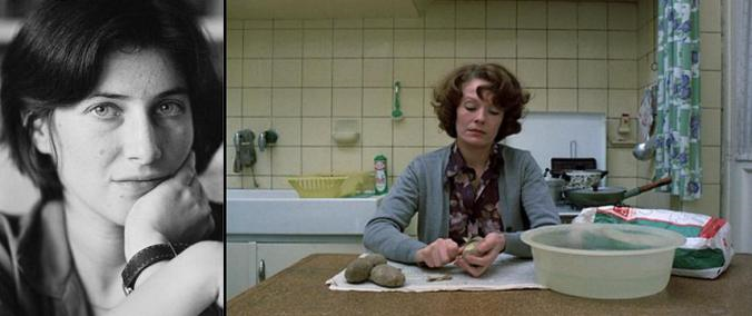 "Filmmaker Chantal Akerman, left, and a still from her film ""Jeanne Dielman, 23 Quai du commence, 1080 Bruxelles"""
