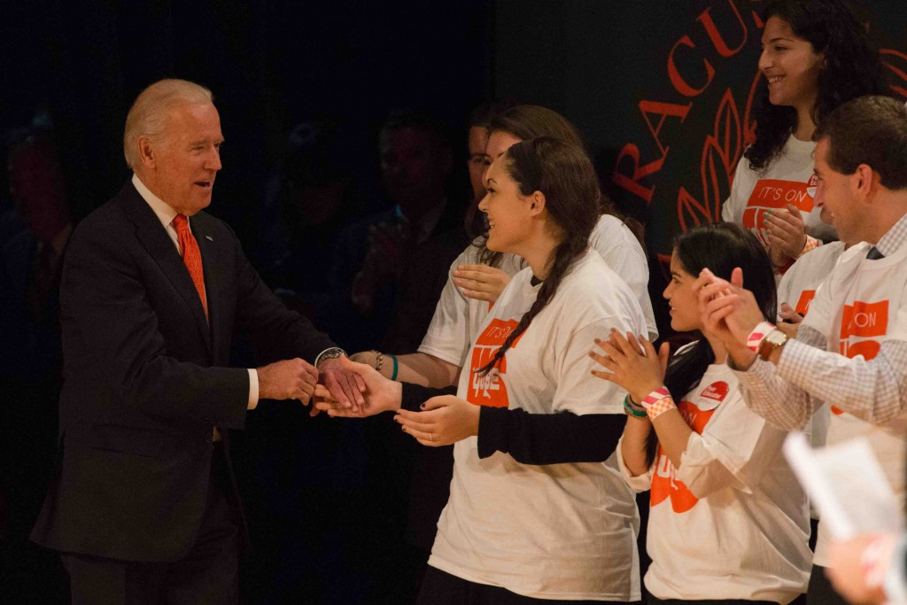 Joseph Biden with students
