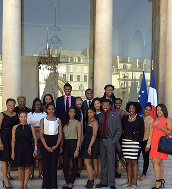 Students in the Paris Noir 2015 program at the Elysee Palace