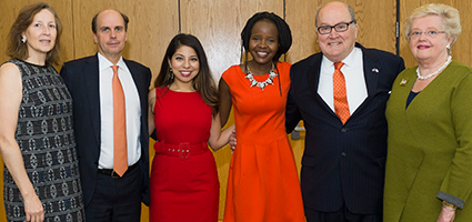 Gathering at an October 30 ceremony at the Maxwell School, at which the first Thompson Scholars were named, were (from left) Deborah and Steven Barnes (the latter, current chair of the Syracuse University Board of Trustee), inaugural Thompson Scholars Sonia Rangel and Amy Majani, and fund honorees Dick and Jean Thompson.