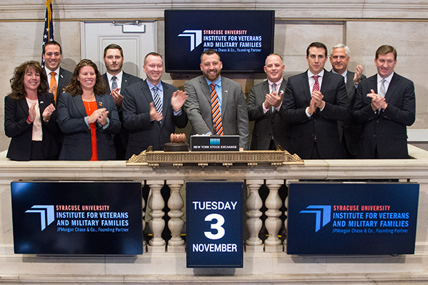 Left to right:  Margaret Lambrecht, Ray Toenniessen '06, Kristina Donzella, G'15, Jesse Cannella, Mike Haynie, Charles Preuss, '17, Michael Bianchi, John Tuttle/NYSE, Paul Dottle, Ross Brown