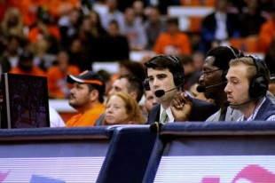 Jay Alter '16 calls a men's basketball game at the Carrier Dome. (Courtesty of Ellen Burr)