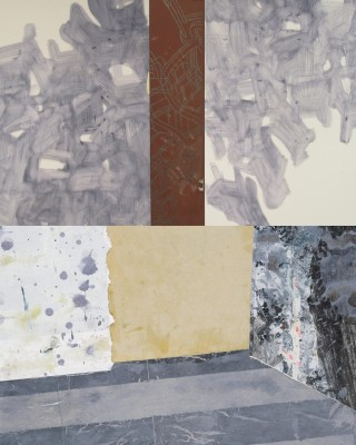 "Erickson, ""Conversation Piece #4"" (top, detail); Zoller ""Interior Witness V"" (bottom, detail)"