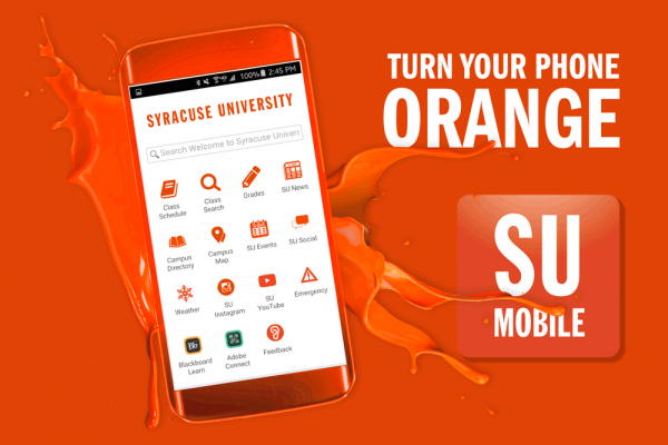 The Syracuse University Mobile app offers a wealth of current information about the University, and it provides safe, secure access to information in MySlice.