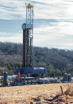Fracking produces fractures in rock formations that stimulate the flow of natural gas or oil. Wells, such as the one here, are drilled hundreds to thousands of feet below the land surface, and may include horizontal or directional sections that extend thousands of feet.