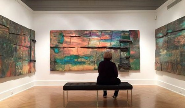"Margie Hughto with her Palitz Gallery installation ""Setting Sun."""