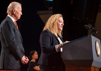 "Skaller introduces U.S. Vice President Joseph Biden during the ""It's On Us"" event held in Goldstein Auditorium in November."