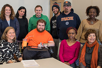 A disability law class, with Professor Arlene Kanter, founder of the Disability Law Policy Program seated at left