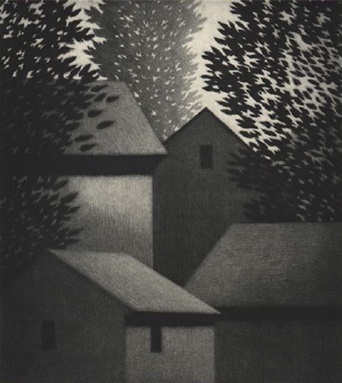 Robert Kipniss, Four Houses, 1991. © Robert Kipniss. Syracuse University Art Collection