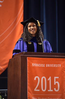 Breagin Riley, assistant professor of marketing in the Whitman School, was the faculty speaker at the 2015 New Student Convocation.