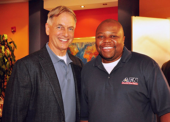 Grant with actor Mark Harmon