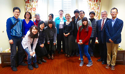 Japanese students who visited Syracuse University recently, with School of Education Dean Joanna Masingila, center