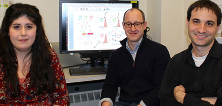 Three of the researchers involved in the lighting research. They are, from left: Liliana Karam, Mathew Maye and Tennyson Doane.