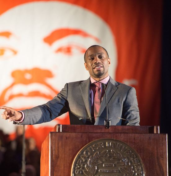 Dr. Marc Lamont Hill was the keynote speaker at the 31st annual Dr. King Celebration at the Carrier Dome on Jan. 31, 2016.
