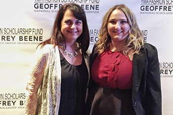 Michelle Lee '16, right, with Syracuse University's YMA FSF liaison, Rose Marie Crisalli, at the YMA FSF Geoffrey Beene National Scholarship Awards Dinner.