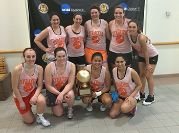 The College of Law women's basketball players are, front row from left: Alycia Kimmel, Shannon Crane, Lahela Usui and Krystal Garcia. Second row,from left, Shannon Robin, Carly Halpin, Katie Boumans, Selbie Jason and Shannon Kane.