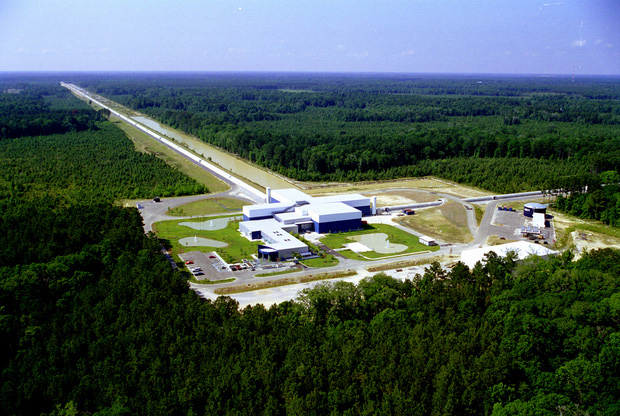 An aerial view of the LIGO Livingston Observatory