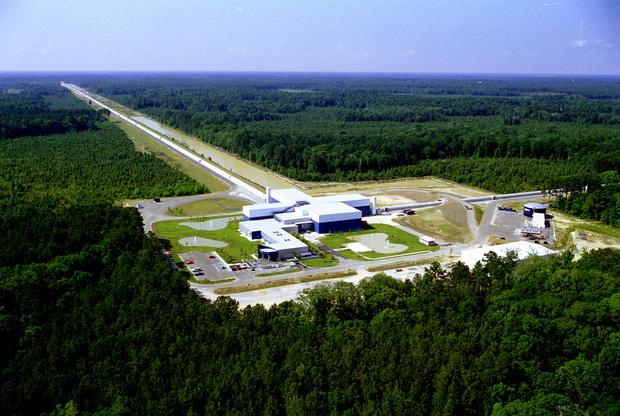 An aerial view of the LIGO Livingston Observatory