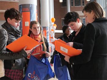 CUWiP attendees in Milton Atrium of Syracuse's Life Sciences Complex