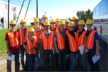 Construction engineering students gather outside the new Construction Engineering Lab.