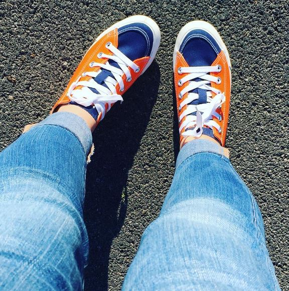 Orange and blue sneakers