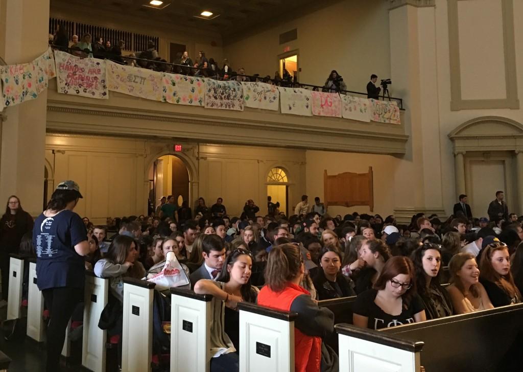 Students in Hendricks Chapel