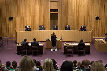 Second-year law student Sarah Ballard makes her case during the asdfasdfasdfasdf