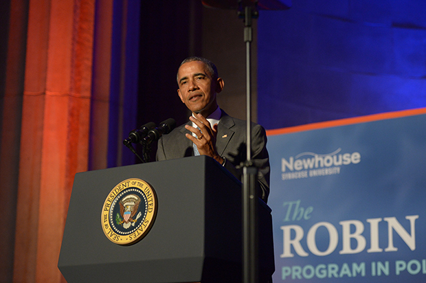 President Barack Obama delivers the keynote address at the Toner Awards ceremony Monday in Washington, D.C.