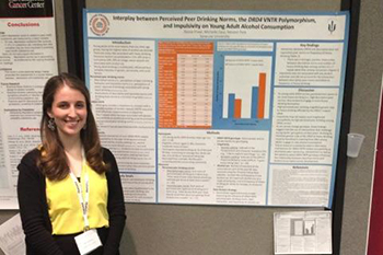 "Alyssa Prawl presents at the Society of Behavioral Medicine Conference, as reflected in her blog: ""Presenting at the Society of Behavioral Medicine Conference was so amazing! I had never presented a poster by myself before, so that was new and exciting. It was also very rewarding. I had several people come by my poster and ask me questions and one person even knew my faculty advisor from working with her in South Korea! But the overall experience certainly helped me refine my presentation skills, establish some connections and learn about new research currently being conducted and published. Washington DC itself was also really great. After simply driving into the city, I was in awe, it was so clean and everyone just looked so happy (might've helped that the sun was out, something we haven't seen here in awhile!). While in DC I was lucky enough to be able to visit the Smithsonian's National Zoo and the Smithsonian Museum of Natural History. Both experiences were phenomenal, I got to see the giant pandas and elephants as well as some mummies and the hope diamond! And after spending a couple of days in DC I think I would very much like to live there one day. Since the conference, I've started looking for jobs in the area, and I've got some ideas where to look thanks to the people I met there. """