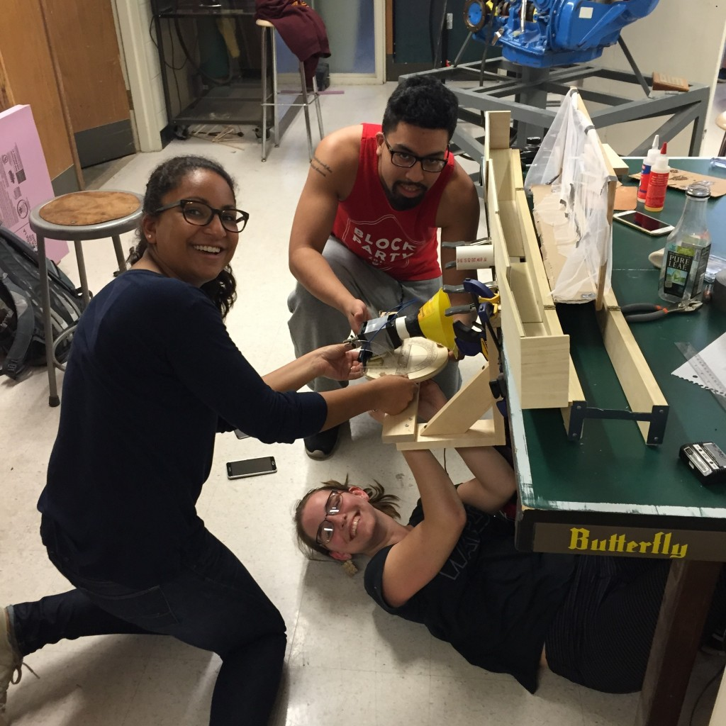 Engineering students working on project