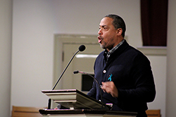 Don McPherson addresses the crowd during the Take Back the Night event at Hendricks Chapel.