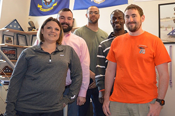 Incoming officers of the Student Veteran Organization are, from left, Kierston Whaley, John Miccio, Anthony Pegues, John Williams and Paul Honnick. Not pictured is Kevin Lee.