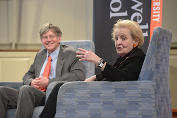 Madeleine Albright with James Steinberg in Hendricks Chapel during the Tanner Lecture