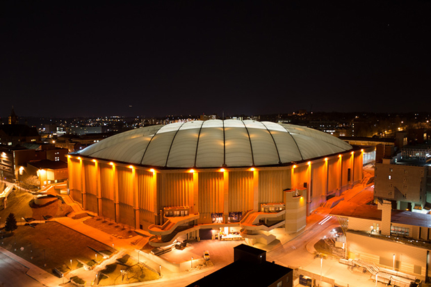 National Orange Day 144th 2014 New Carrier Dome Exterior Lit Orange From Roof