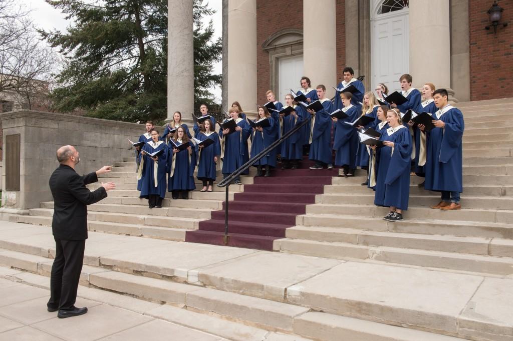 Singers on Hendricks Chapel steps