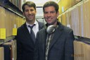 """Jim O'Connor, left, and """"Sound Beat"""" announcer Brett Barry in the stacks at the Belfer Archive."""