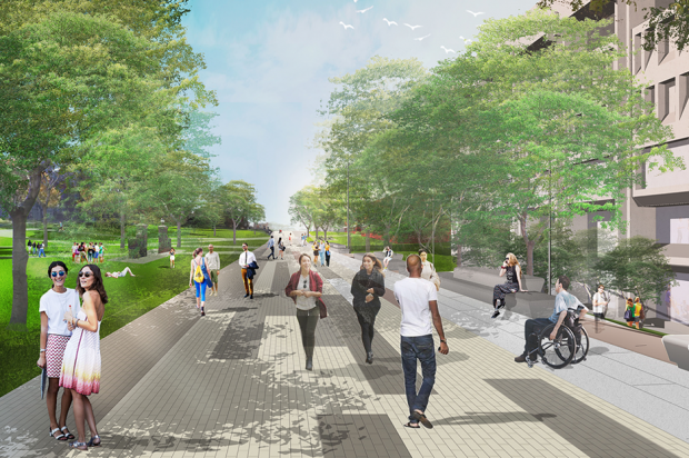 Promenade, west view, proposed