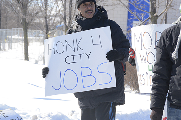 Low-wage workers protest to increase the number of jobs in the City of Syracuse. (Photo by Danielle Gehman)