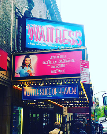 "The marquee for ""Waitress,"" starring Syracuse University alumna Jessie Mueller."