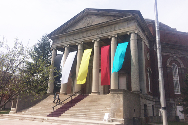 """""""Inspirare"""" by M.F.A. student Joan Farrenkopf is currently gracing the front of Hendricks Chapel."""