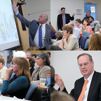 Pete Sala, upper left, and Chancellor Syverud, lower right, met with faculty, staff and students on Tuesday, May 10, to talk about the University Place Promenade project.