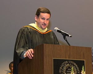 Jeff Rubin addresses students after being named Katzer Professor of the Year.