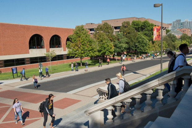 University Place, between the Newhouse complex and the Goldstein Alumni and Faculty Center, will be the site of the University Promenade.