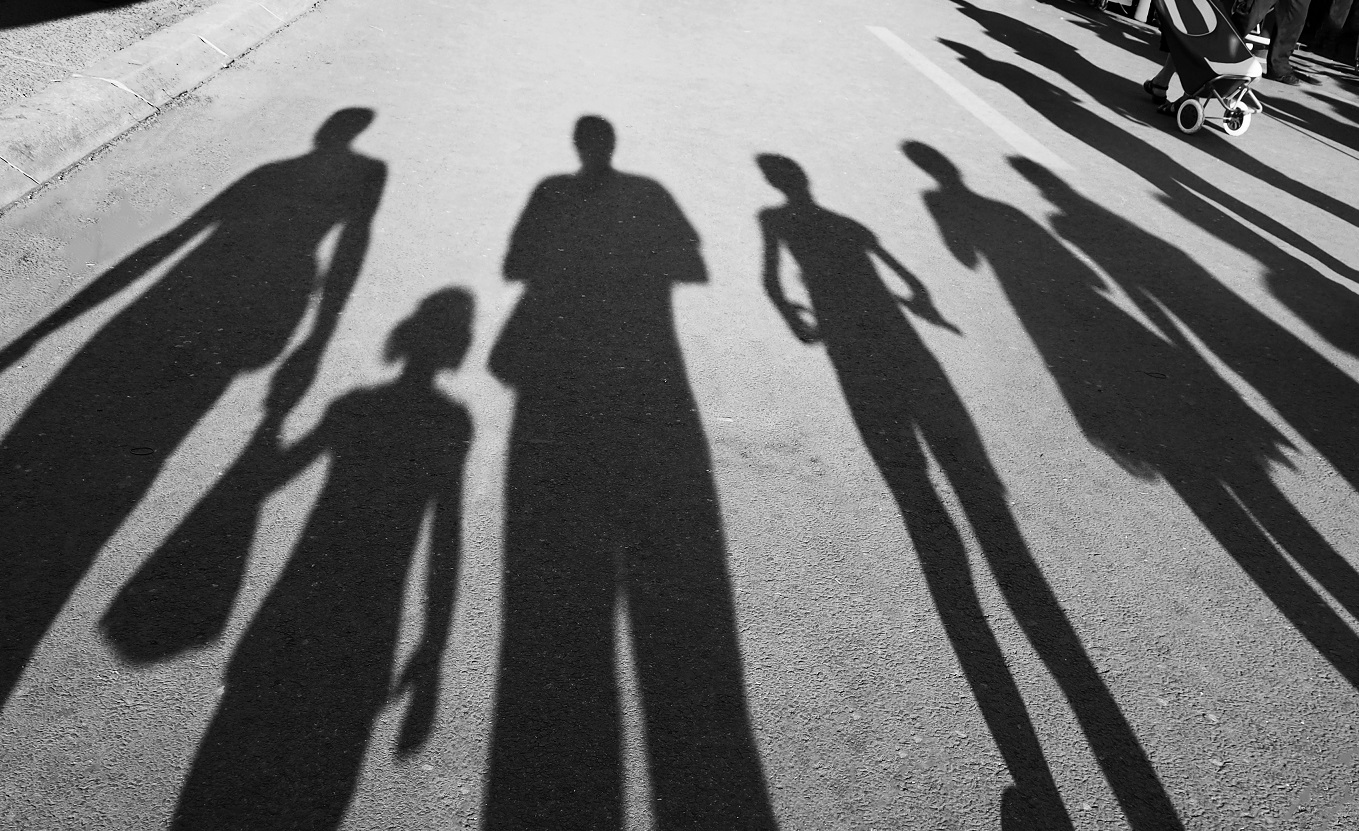 Interesting shadow of a whole family together